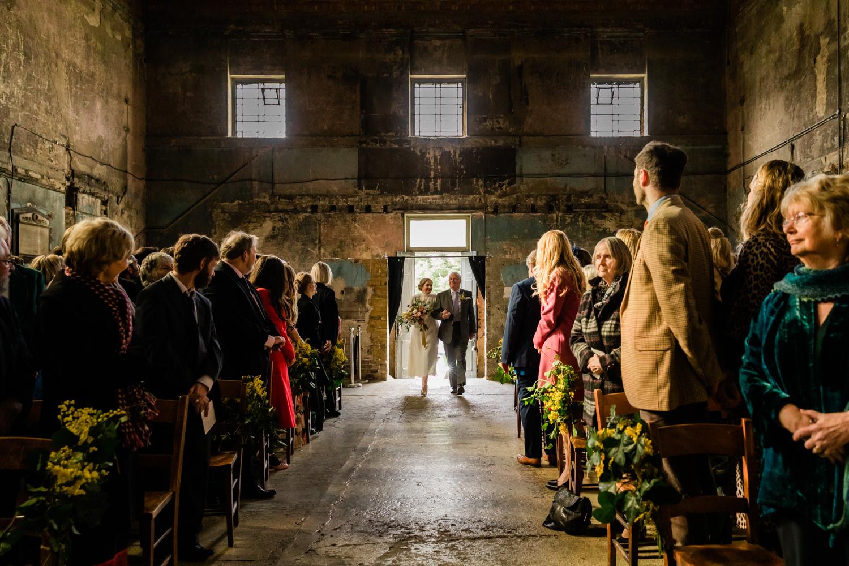 Asylum entrance bride and father